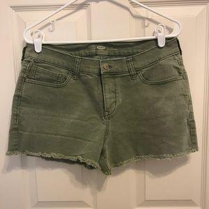 Army Green Raw Hem Shorts
